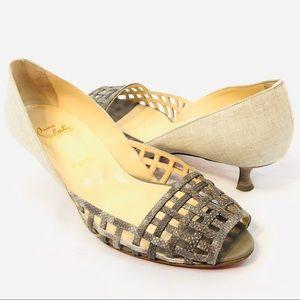 Louboutin Woven Peep Toe Shoes